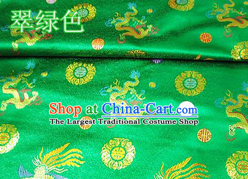 Traditional Chinese Royal Dragon Phoenix Pattern Green Brocade Tang Suit Fabric Silk Fabric Asian Material