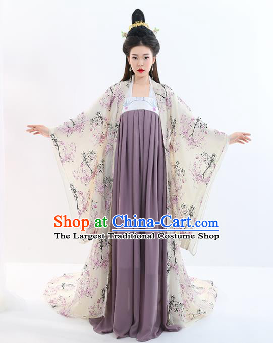 Chinese Traditional Tang Dynasty Imperial Concubine Costumes Ancient Drama Peri Court Lady Hanfu Dress for Women