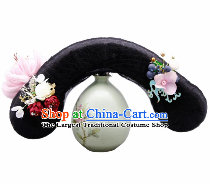 Chinese Traditional Qing Dynasty Hair Accessories Ancient Wigs and Hairpins for Women