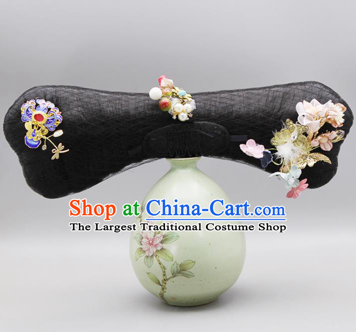 Chinese Traditional Qing Dynasty Hair Accessories Ancient Imperial Consort Wigs and Hairpins for Women