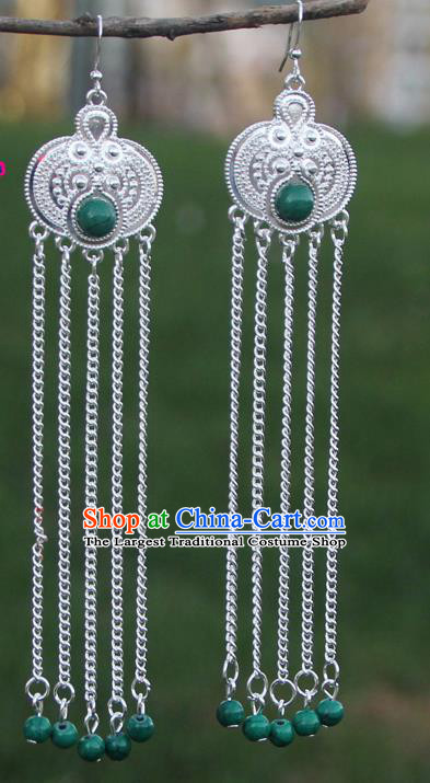 Chinese Traditional Green Beads Tassel Earrings Yunnan National Minority Eardrop for Women