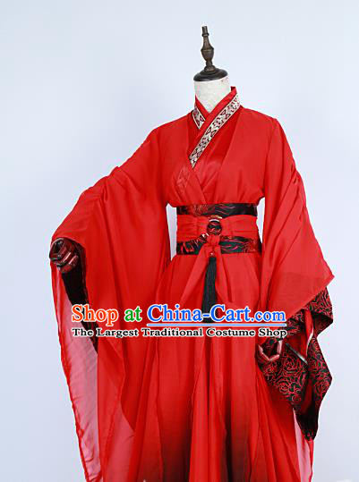 Chinese Traditional Ancient Swordsman Nobility Childe Red Costumes for Men