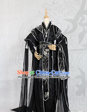 Chinese Traditional Ancient Swordsman Royal Highness Black Costumes for Men