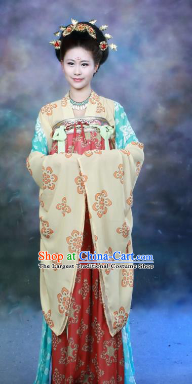 Chinese Traditional Ancient Palace Lady Historical Hanfu Dress Tang Dynasty Imperial Consort Costumes for Women