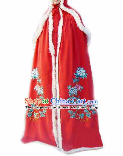 Chinese Traditional Han Dynasty Princess Red Cloak Ancient Palace Lady Cape for Women
