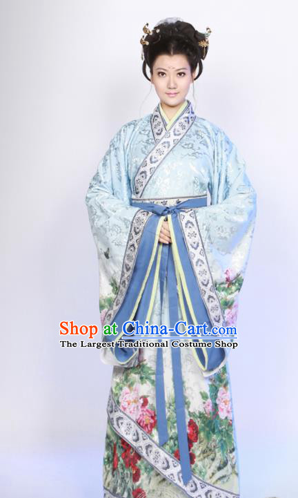 Traditional Chinese Han Dynasty Princess Costume Ancient Hanfu Curving Front Robe for Women