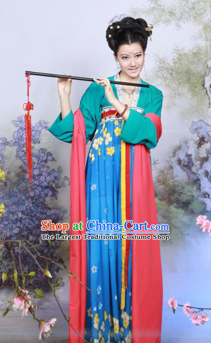 Chinese Traditional Tang Dynasty Young Lady Costume Ancient Peri Hanfu Dress for Women
