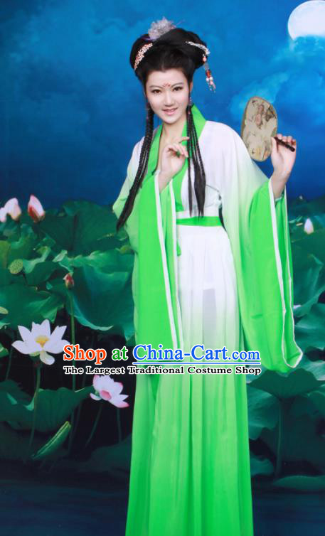 Chinese Ancient Peri Green Hanfu Dress Tang Dynasty Nobility Lady Historical Costumes for Women