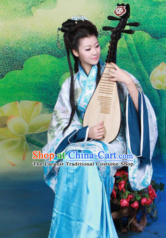 Chinese Ancient Palace Musician Hanfu Dress Han Dynasty Imperial Consort Historical Costumes for Women