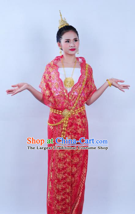 Asian Traditional Thailand Costumes National Handmade Embroidered Red Dress for Women
