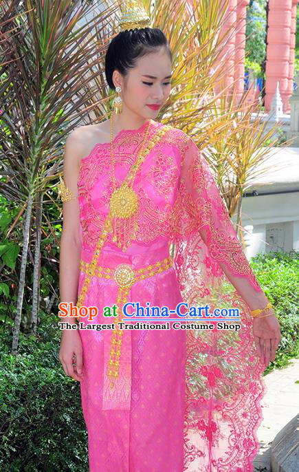 Asian Traditional Thailand Costumes National Handmade Embroidered Rosy Dress for Women