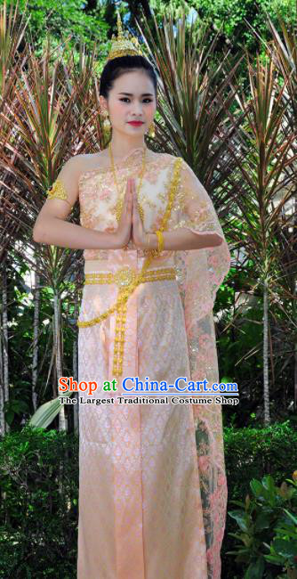 Asian Traditional Thailand Costumes National Handmade Embroidered Pink Dress for Women