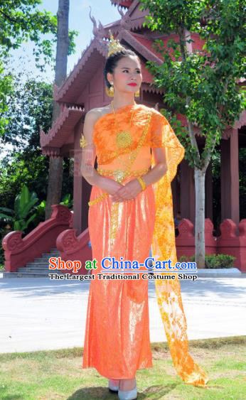 Asian Traditional Thailand Costumes National Handmade Embroidered Orange Dress for Women