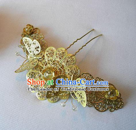 Chinese Handmade Classical Hairpins Hair Accessories Butterfly Hair Stick Ancient Bride Headwear for Women