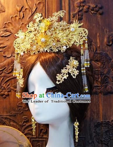 Chinese Handmade Classical Tassel Hairpins Hair Accessories Phoenix Coronet Ancient Bride Headwear for Women