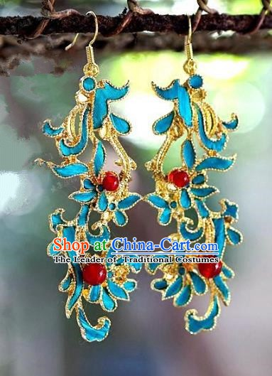 Asian Chinese Traditional Handmade Jewelry Accessories Eardrop Bride Long Tassel Earrings for Women