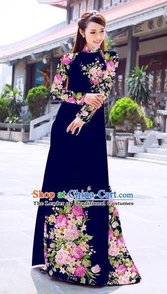 Asian Vietnam Palace Costume Vietnamese Trational Dress Printing Rose Royalblue Ao Dai Cheongsam Clothing for Women
