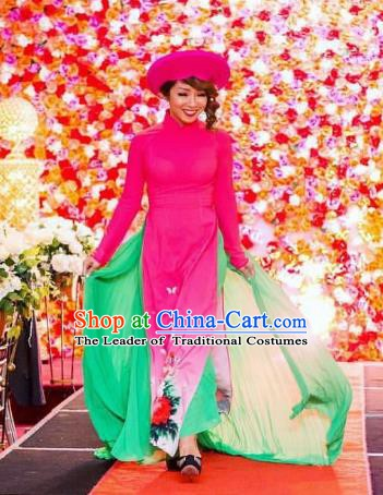 Asian Vietnam Costume Vietnamese Bride Trational Stage Performance Rosy Ao Dai Cheongsam Dress for Women