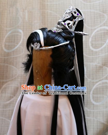 China Ancient Tang Dynasty Cosplay Swordsman Wig and Hair Accessories Wiggery