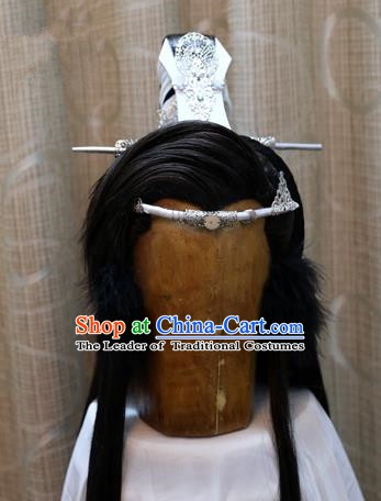 China Ancient Tang Dynasty Cosplay Swordsman Wig Sheath and Hair Accessories Hairdo Crown
