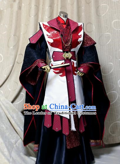 Ancient China Cosplay General Costumes Swordsman Embroidered Clothing for Men