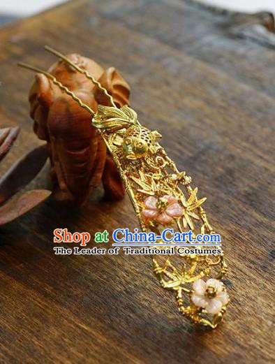 Chinese Handmade Classical Hair Accessories Luxurious Golden Hair Clip Ancient Hairpins for Women