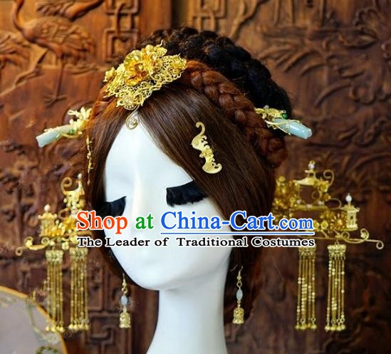 Chinese Handmade Classical Hair Accessories Hair Clip Ancient Phoenix Coronet Hairpins Complete Set for Women