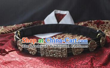Ancient China Ming Dynasty Imperial Bodyguard Swordsman Leather Belts Waistband for Men