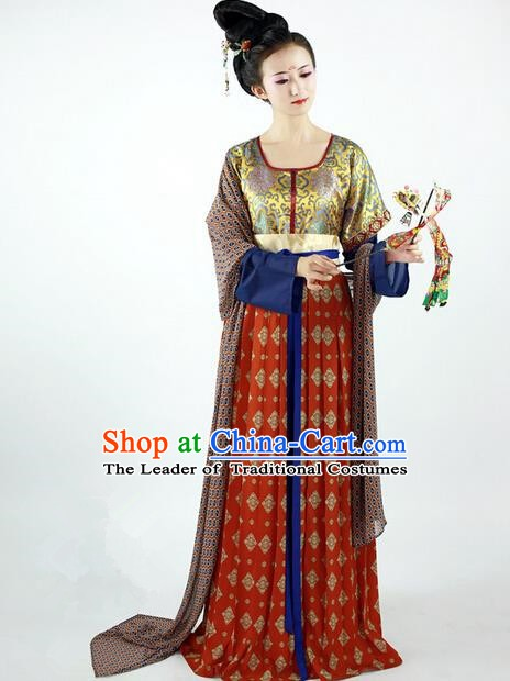 Ancient Chinese Tang Dynasty Imperial Princess Embroidered Costume for Women