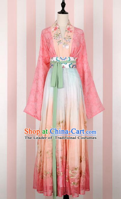 Ancient Chinese Song Dynasty Princess Embroidered Costume, China Ancient Palace Lady Clothing for Women