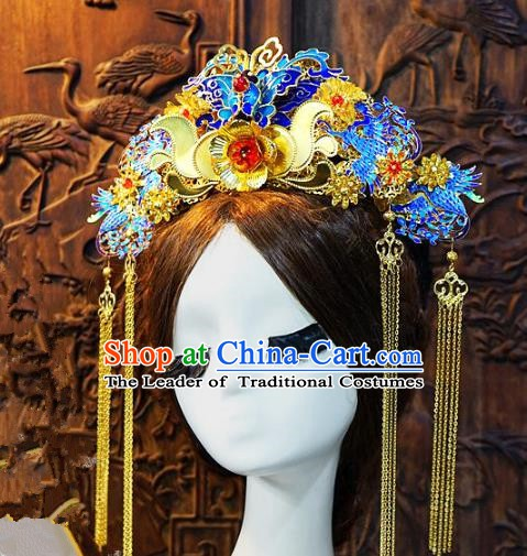 Chinese Handmade Classical Blueing Phoenix Coronet Hairpins Tassel Hair Accessories Ancient Bride Headwear for Women