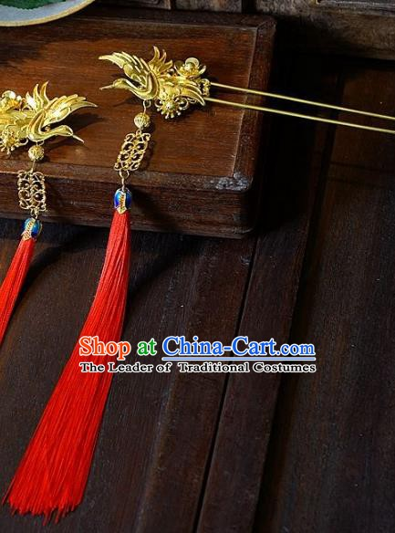 Chinese Handmade Classical Hair Accessories Ancient Red Tassel Crane Hairpins Hair Clip for Women