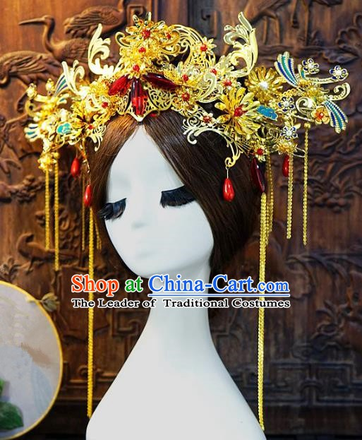 Chinese Handmade Classical Queen Phoenix Coronet Hairpins Tassel Hair Accessories Ancient Bride Headwear for Women