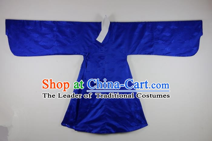 Ancient China Ming Dynasty Taoist Priest Costumes Hanfu Royalblue Robe for Men