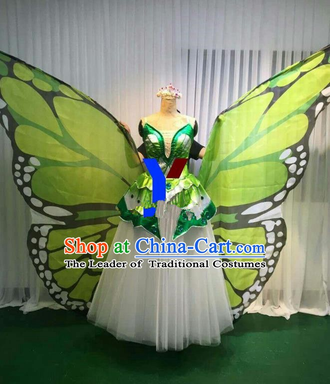 Professional Modern Dance Stage Performance Dress Halloween Costume and Green Butterfly Wings for Women