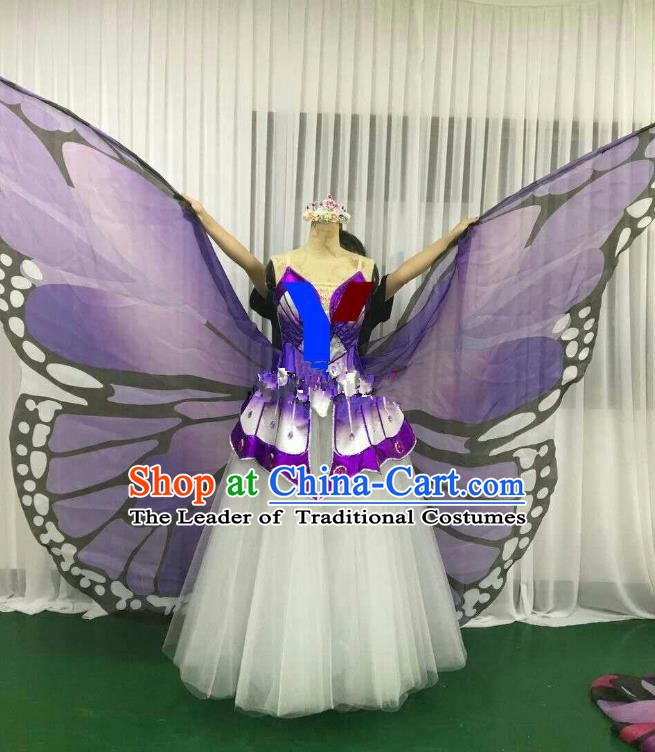Professional Modern Dance Stage Performance Dress Halloween Costume and Purple Butterfly Wings for Women