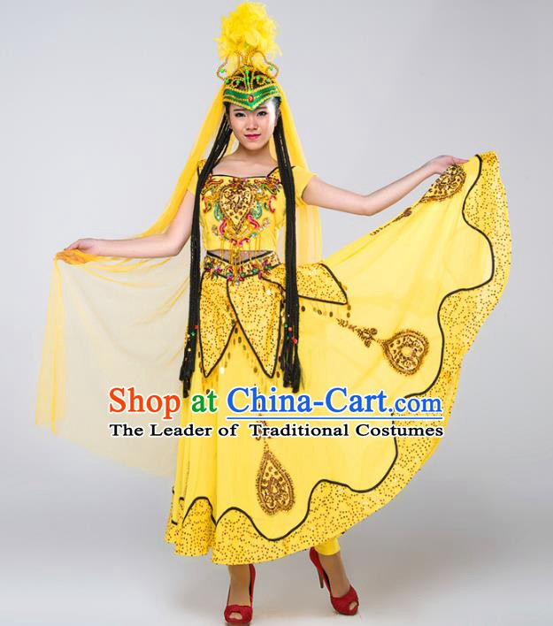 Traditional Chinese Uyghur Nationality Dance Costume, China Folk Dance Uigurian Minority Dance Dress and Headwear for Women