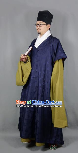 Ancient China Ming Dynasty Taoist Priest Costumes Hanfu Navy Robe for Men