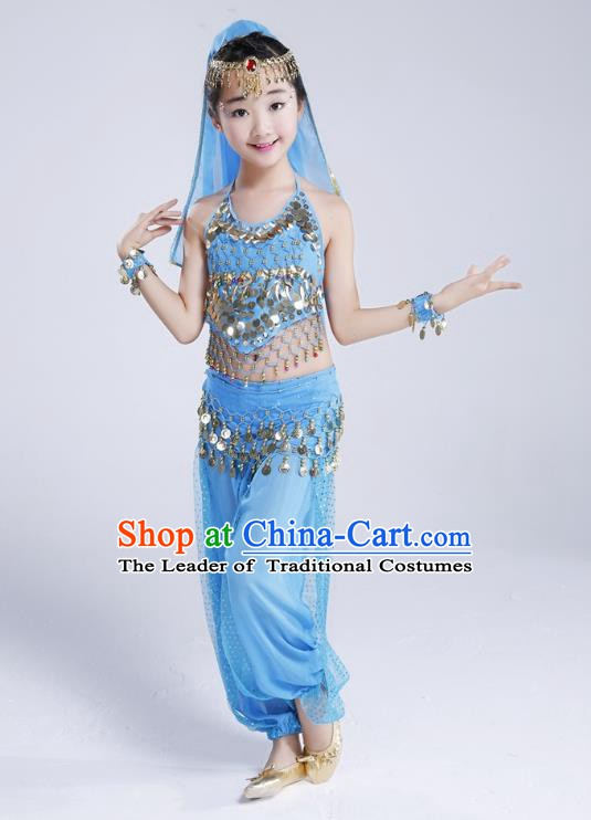 Traditional India Dance Light Blue Costume, Asian Indian Belly Dance Paillette Clothing for Kids