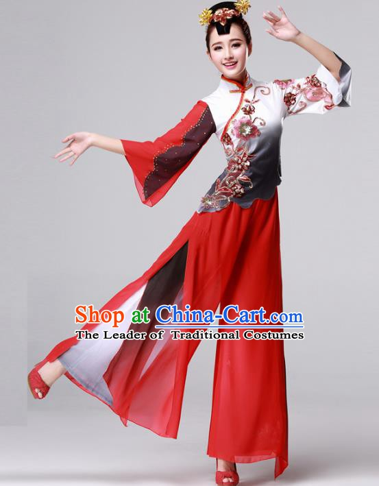 Traditional Chinese Yangge Fan Dancing Costume, Folk Dance Yangko Drum Dance Red Clothing for Women