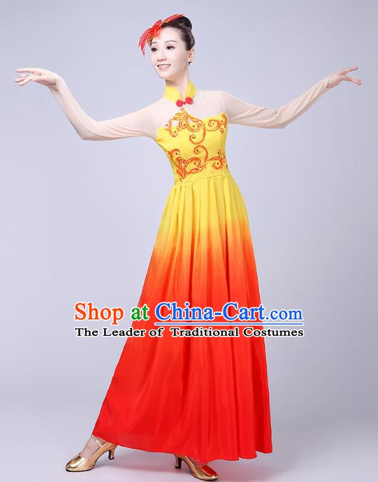Traditional Chinese Yangge Fan Dance Costume, Folk Yangko Dance Classical Lotus Dance Orange Dress for Women