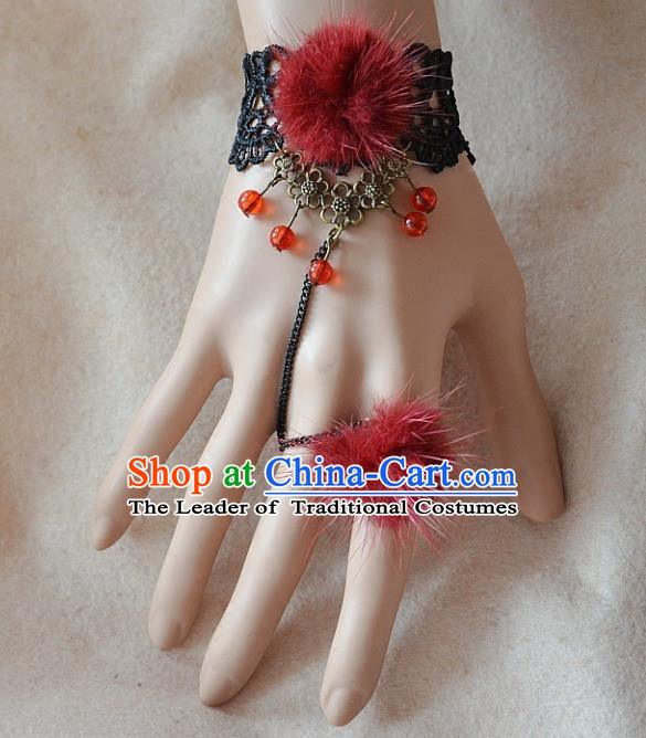 European Western Bride Vintage Renaissance Red Venonat Lace Bracelet with Ring for Women