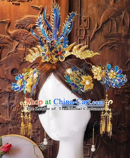 Chinese Handmade Classical Wedding Hairpins Ancient Hanfu Phoenix Coronet Hair Accessories for Women