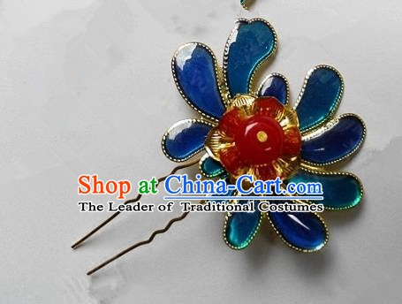 Chinese Handmade Classical Hairpins Ancient Hanfu Blueing Hair Stick Hair Accessories for Women