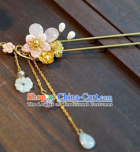 Chinese Handmade Classical Hair Accessories Ancient Hanfu Pink Flower Tassel Hairpins for Women