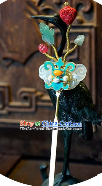 Chinese Handmade Classical Hair Accessories Jade Hair Clip Ancient Hanfu Hairpins for Women