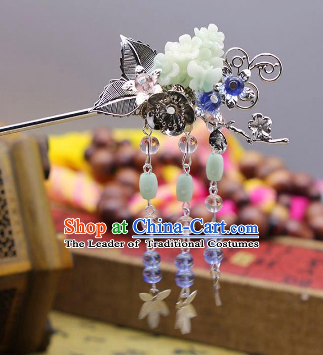 Handmade Chinese Ancient Princess Hair Accessories Tassel Step Shake Hairpins for Women