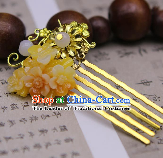 Handmade Chinese Ancient Princess Hair Accessories Golden Hair Comb Hairpins for Women