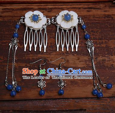 Handmade Chinese Ancient Hair Accessories Royalblue Beads Tassel Hair Comb Hairpins for Women