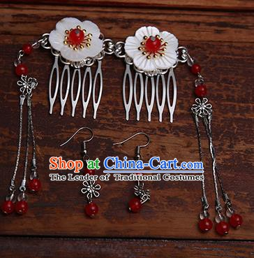 Handmade Chinese Ancient Hair Accessories Red Beads Tassel Hair Comb Hairpins for Women